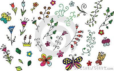 Accumulazione dei fiori disegnati a mano e dei turbinii for Fiori disegnati
