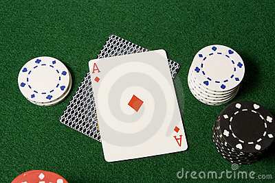 Ace card and gambling chips