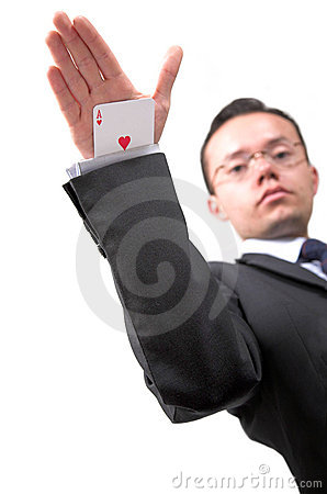 Ace card under sleeve - business man
