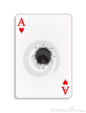 Ace Of Heart With A Bullet Hole Royalty Free Stock Image - Image: 22938086