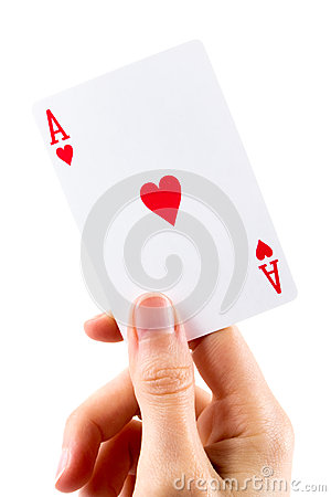 Ace of hearts being held over white