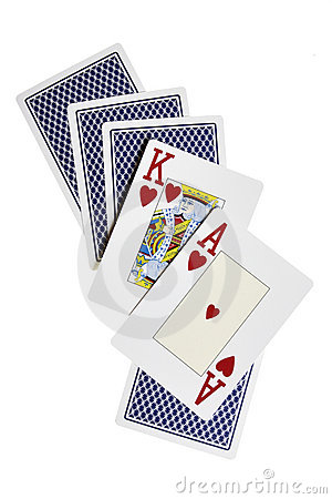 Ace, king and cards from back