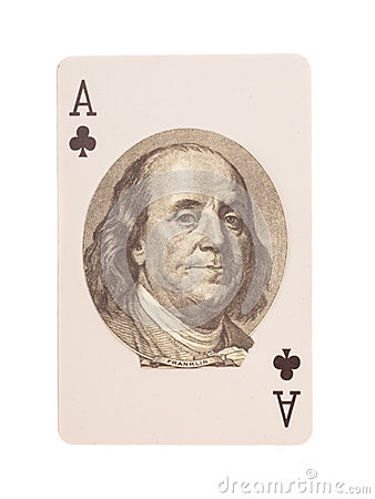 Free Ace Of Clubs Playing Card With Portrait Of Benjamin Franklin Royalty Free Stock Photos - 56226698