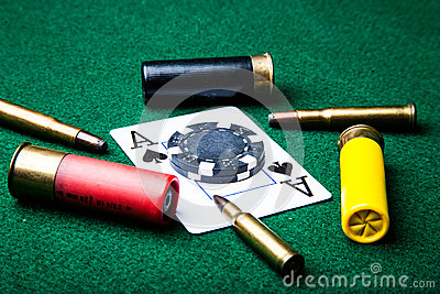 Ace Of Spades With Bullets Stock Photography Image 33392622