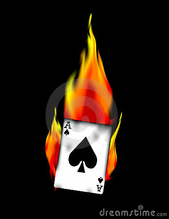 Ace Of Spades On Fire Vector Clip Art Stock Images