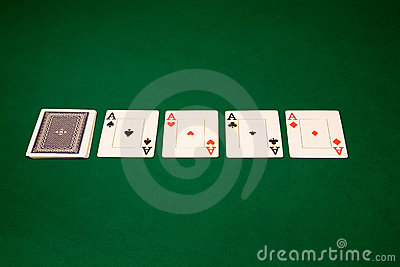 Aces on a green table