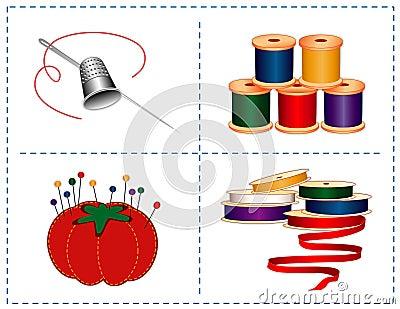 Acessórios Sewing de +EPS, dedal de prata & agulha
