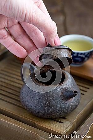 Acessórios da cerimónia de chá do chinês tradicional