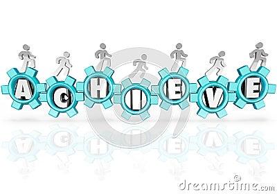 Achieve People Team Marching Accomplishing