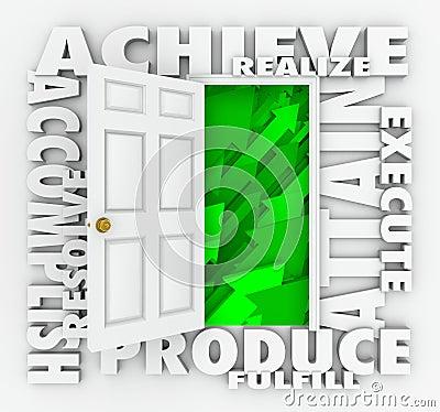 Achieve Word Door Accomplish Goals Successful Mission