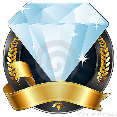 Free Achievement Award Diamond Jewel With Gold Ribbon Stock Images - 20765474