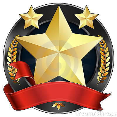 Free Achievement Award Star In Gold With Red Ribbon Stock Photo - 20765540