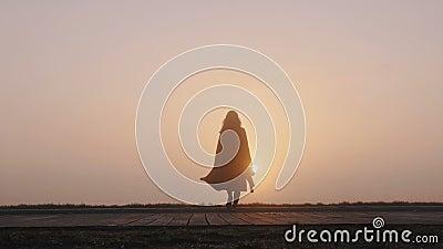 Achteraanzicht achtergrond foto's van gelukkige toeristenvrouw met camera's lopen naar ongelofelijke roze foggy zonnebrand panora stock video