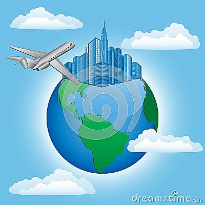 Achtergrond met vliegtuig en aarde