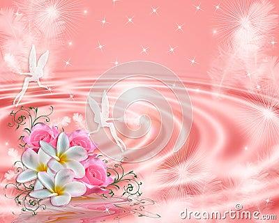 Achtergrond van de Fantasie van de fee de Roze bloemen