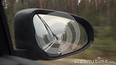 Achtermening van autospiegel op de weg in aard op een bewolkte dag Het drijven door pijnboom boslandschap stock videobeelden