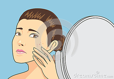 Acne Skin On Women Face Stock Vector