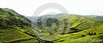 Acores; panorama of flores island, east coast