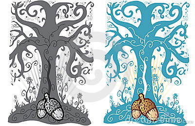 Acorn and tree of life tattoo style illustration