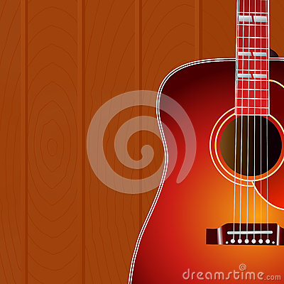 Free Acoustic Guitar Against The Wood Wall Background With Copy Space For Your Text . Music Cover. Stock Photos - 70204063