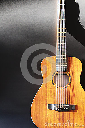 Acoustic guitar background and copy space