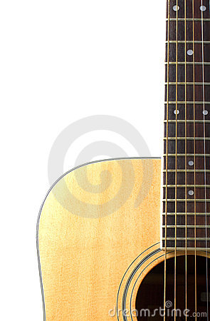 Acoustic guitar close up isolated on white