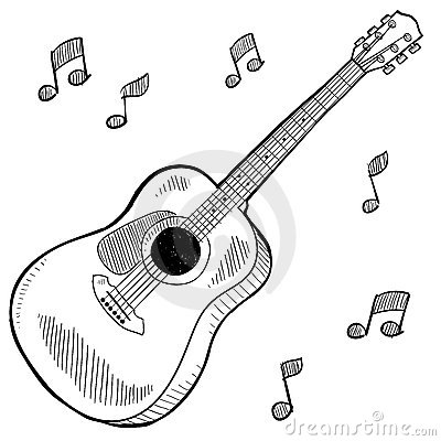 Acoustic Guitar Drawing Stock Image - Image: 22416981