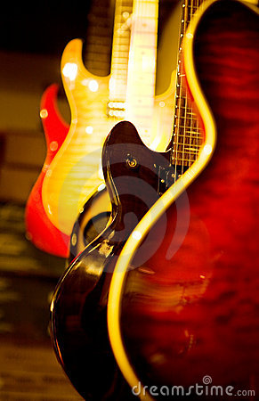 Acoustic guitar and electric guitars