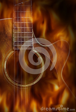 guitar acoustic fire flame - photo #10