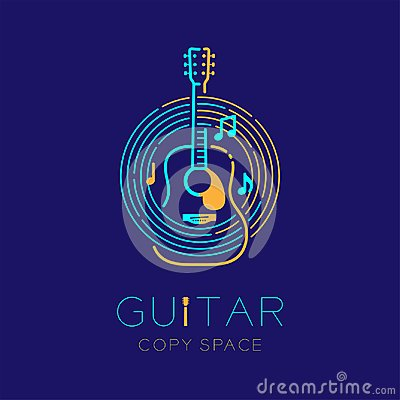 Acoustic guitar, music note with line staff circle shape logo icon outline stroke set dash line design illustration Vector Illustration
