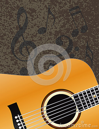Acoustic Guitar with Musical Notes Background Illu