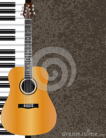 Acoustic Guitar and Piano Illustration