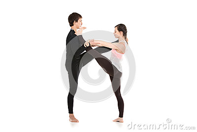 acro yoga extended handtobigtoe pose stock photo