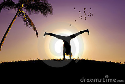The acrobat and a  sunset
