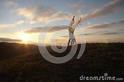 Acrobat on the sunset