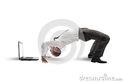 Acrobatic businessman