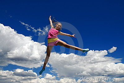 Acrobatic girl in midair