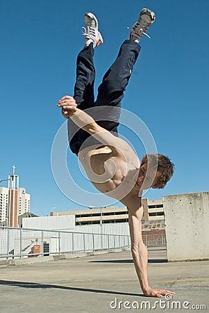 Acrobatic young break dancer