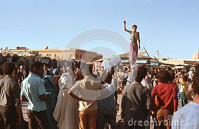 1974. Morocco. Acrobats in Marrakesh. Editorial Photo