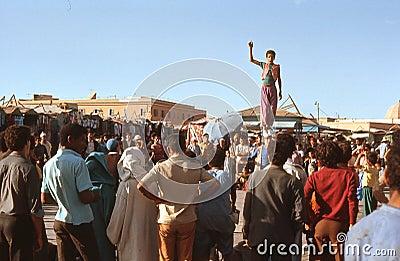 1974. Morocco. Acrobats in Marrakesh. Editorial Photo