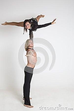 Acrobats perform
