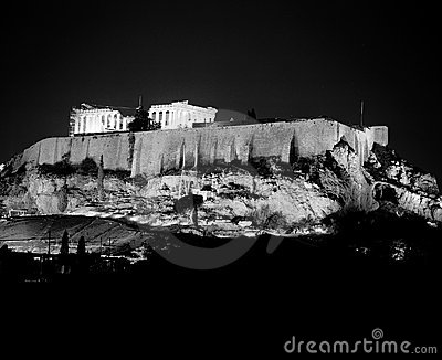 Acropolis Illuminated At Night