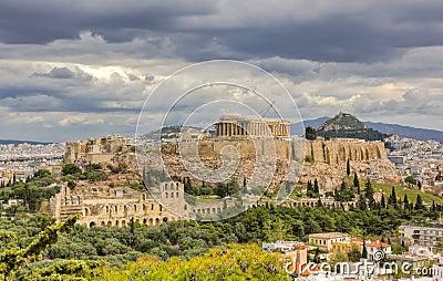 Acropolis under a dramatic sky, Athens, Greece