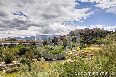 Acropolismarknadsplats forntida athens greece