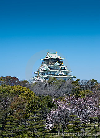Across the blossom trees, Japanese castlein Osaka