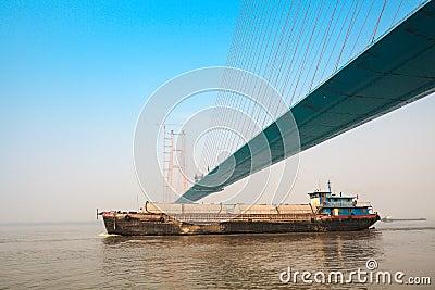 Across the bridge of a cargo ship