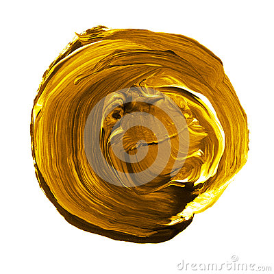 Free Acrylic Circle Isolated On White Background. Yellow, Gold Round Watercolor Shape For Text. Element For Different Design Royalty Free Stock Photo - 95893565
