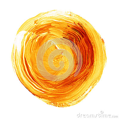Free Acrylic Circle Isolated On White Background. Yellow, Orange Round Watercolor Shape For Text. Element For Different Design Stock Image - 95893091