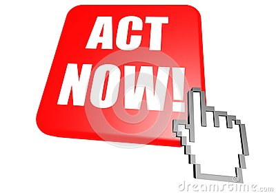 Act now button with cursor