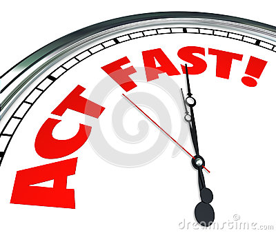 Act Now Clock Time Urgency Action Required Limited Offer